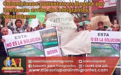 Colombianos protestan en Bogotá por inminente arribo de inmigrantes venezolanos