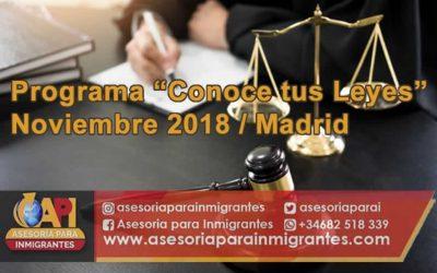 """Programa """"Conoce tus Leyes"""". Noviembre 2018"""