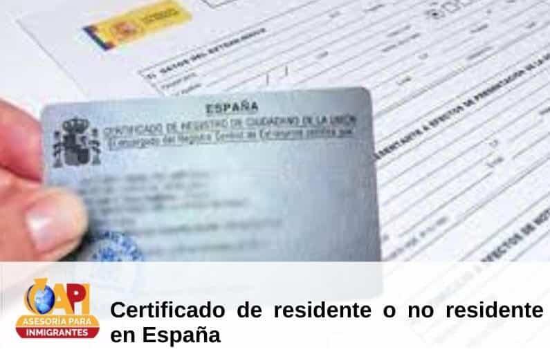 certificado residente españa